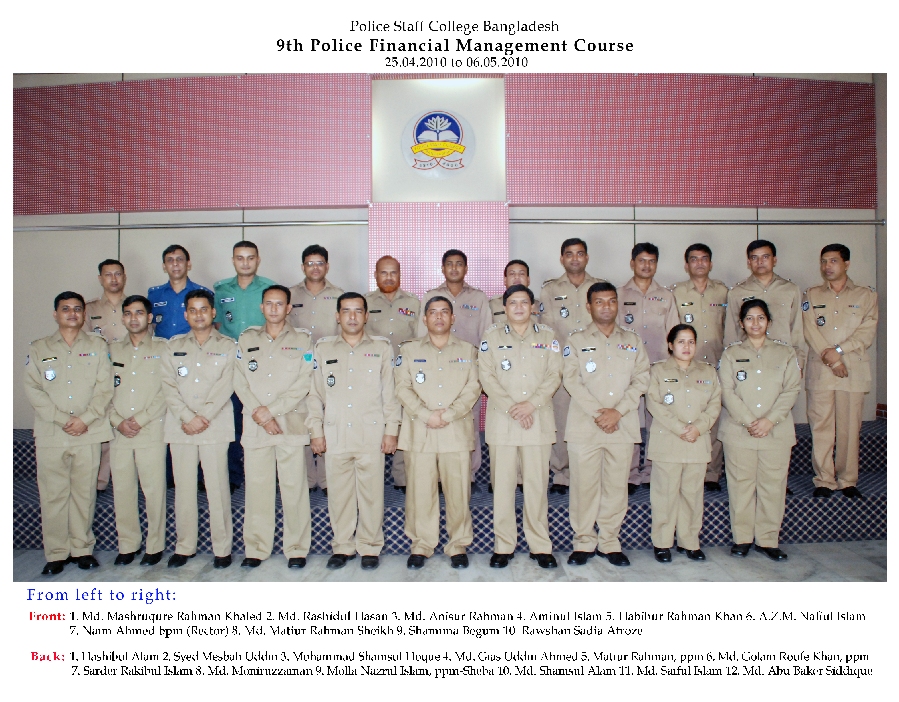 Participant of 9th Police Financial Management Certificate Course.