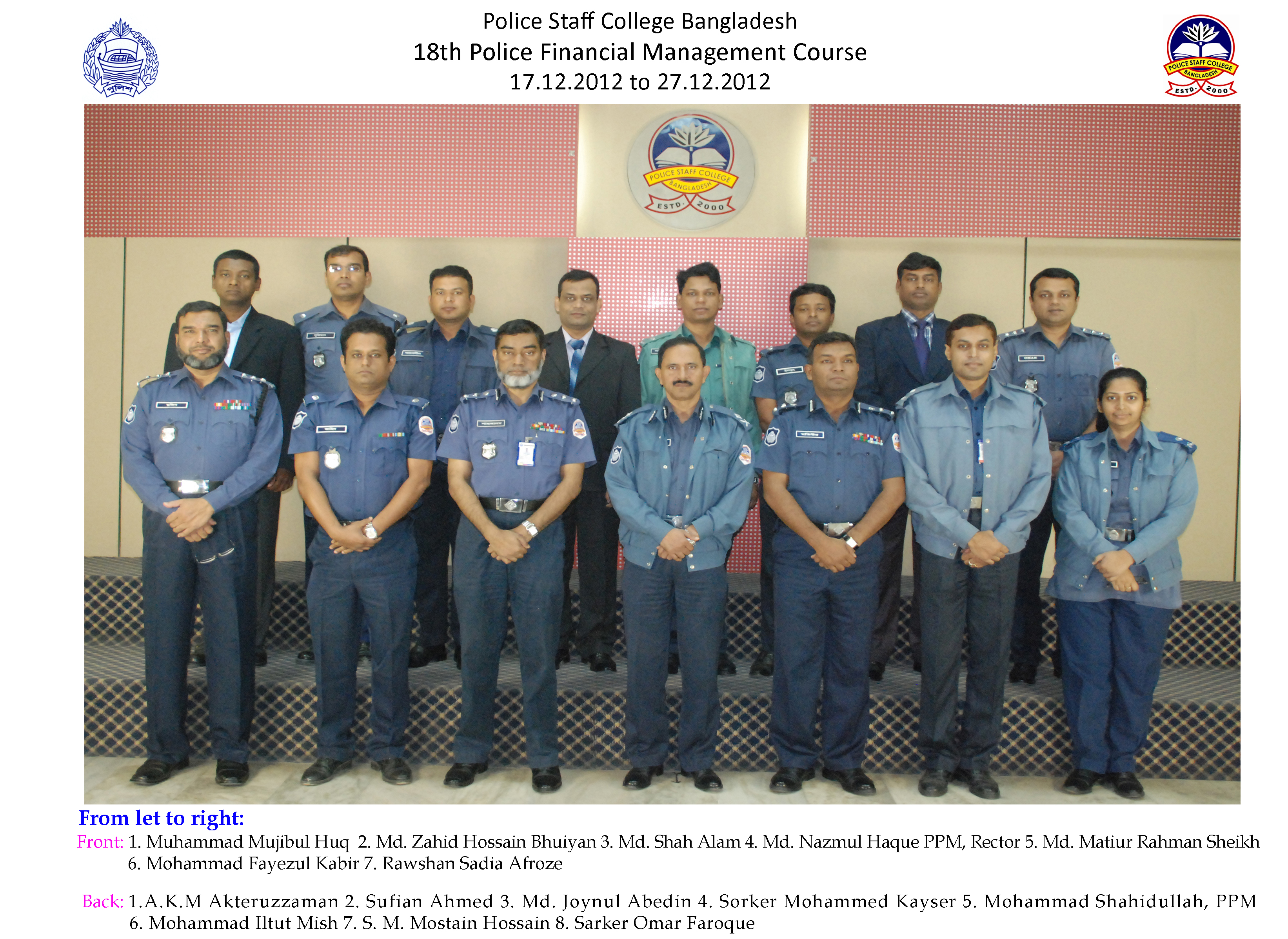 Participant of 18th Police Financial Management Course.
