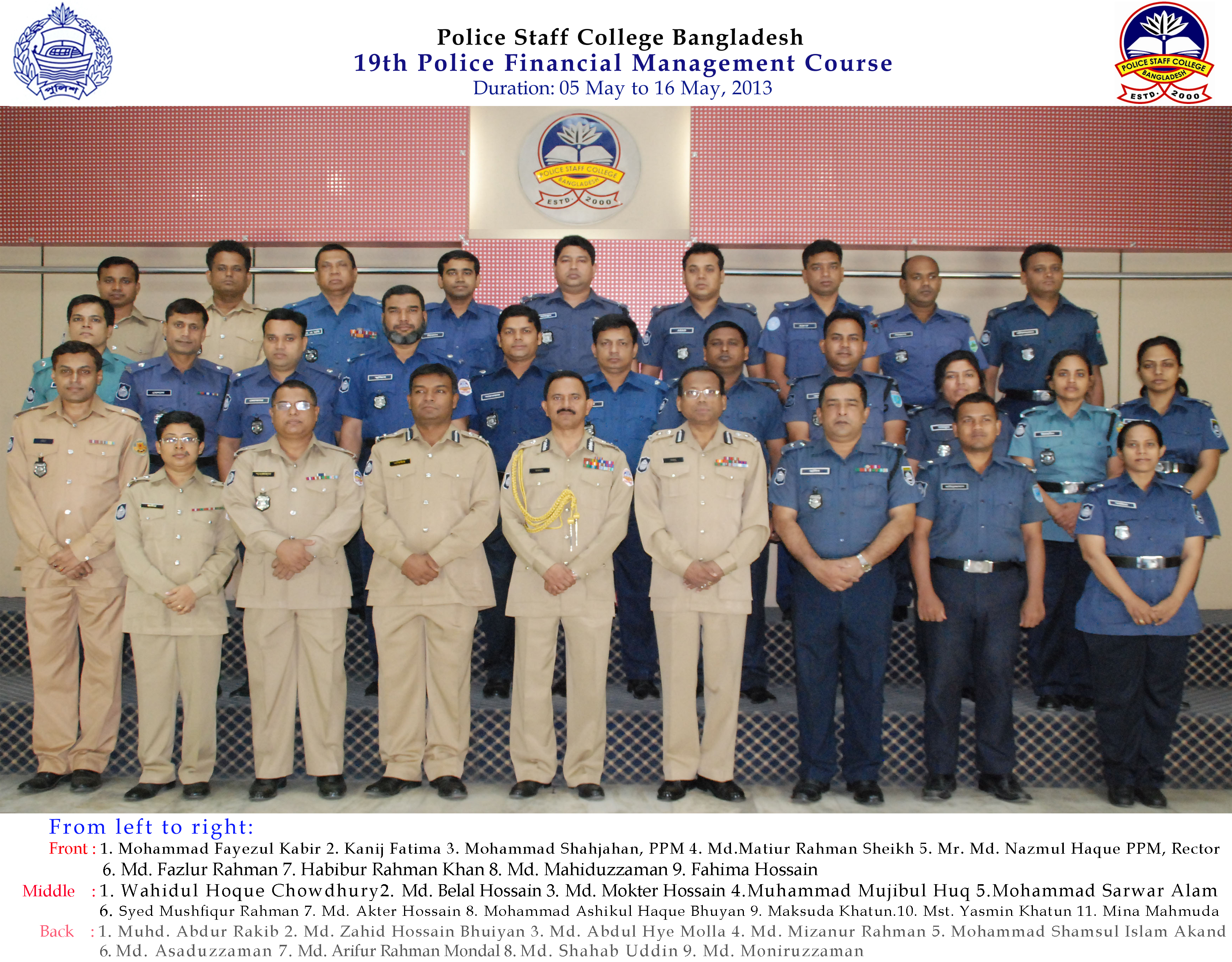 Participant of 19th Police Financial Management Certificate Course.