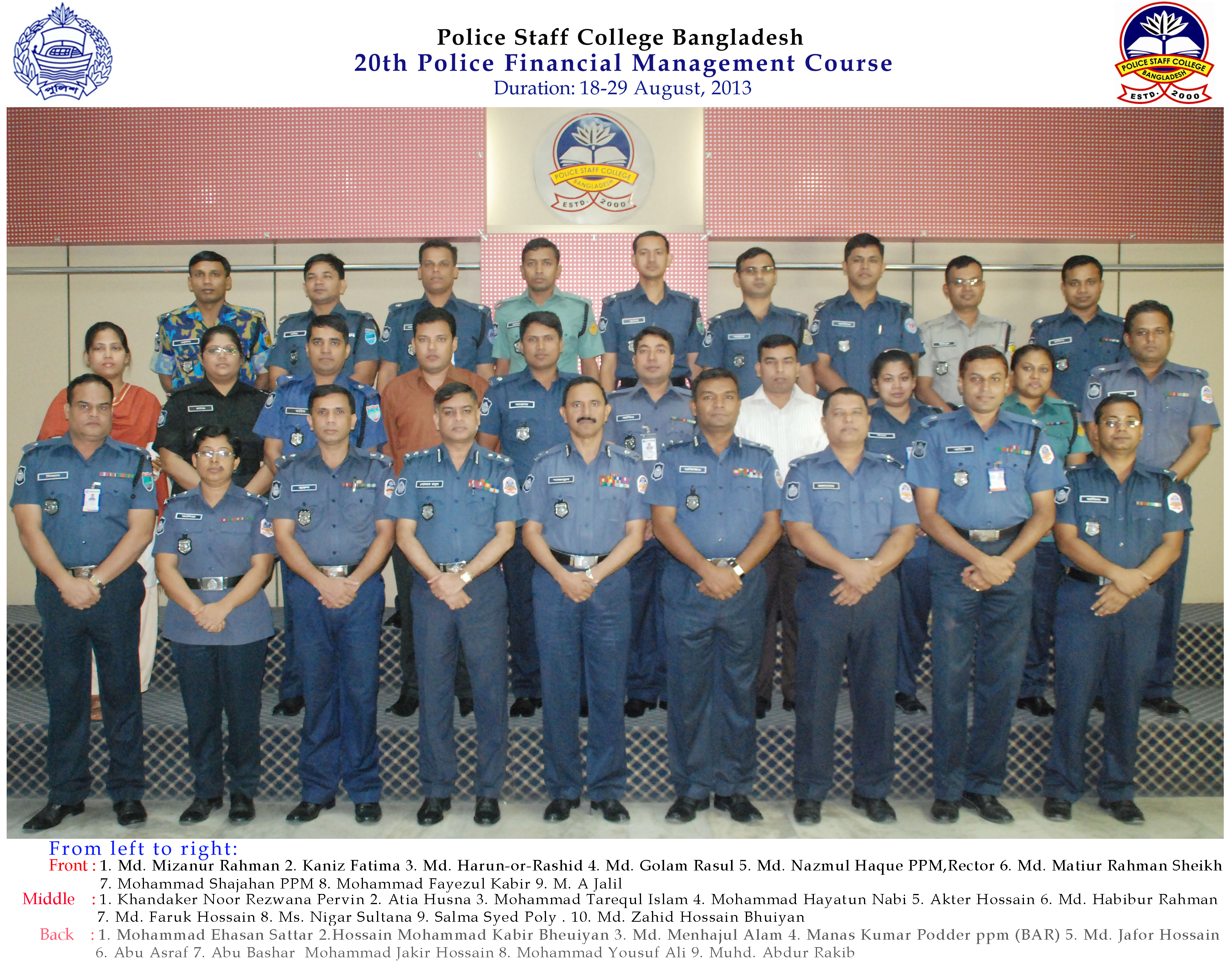 Participant of 20th Police Financial Management Certificate Course.