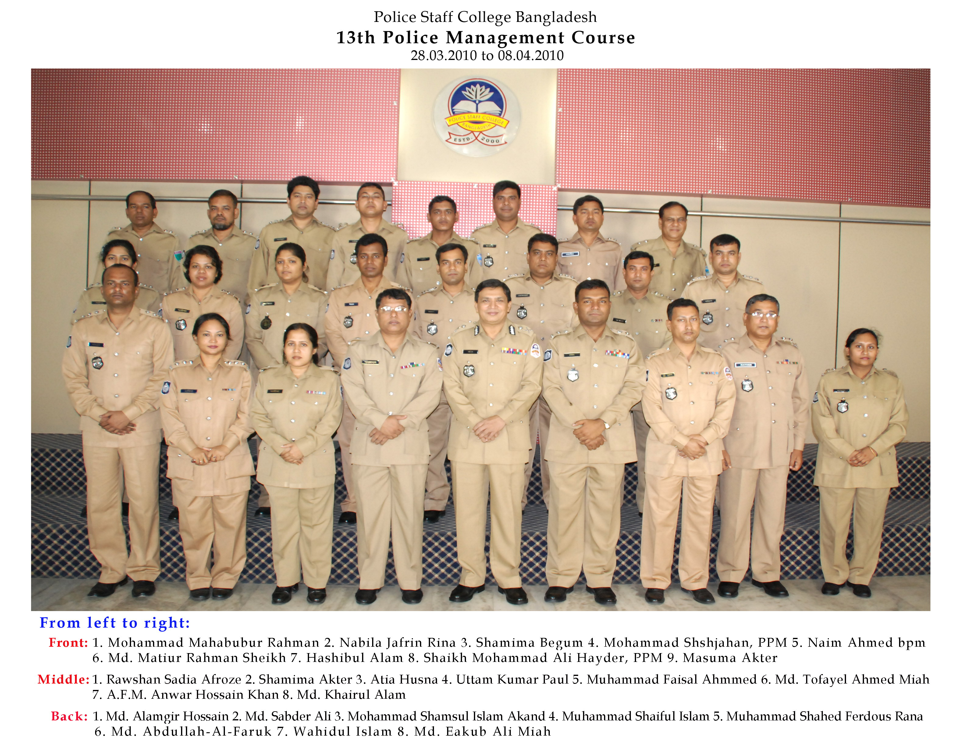 Participant of 13th Police Management Certificate Course.