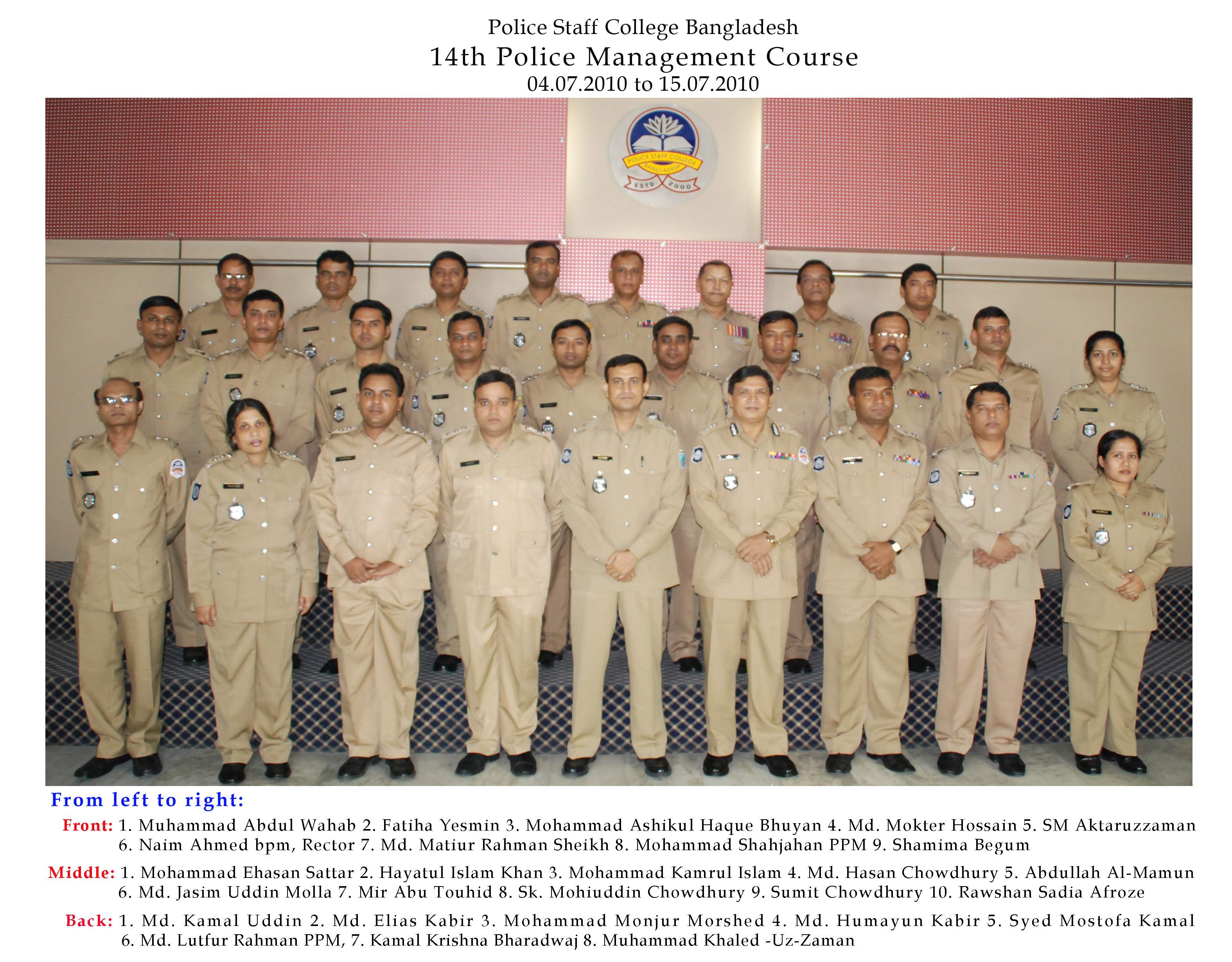 Participant of 14th Police Management Certificate Course.